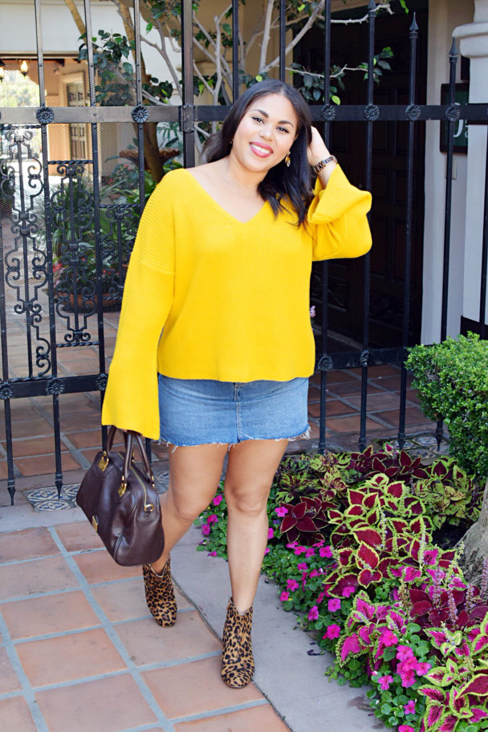 Yellow Bell Sleeve Sweater With Leopard Print Booties