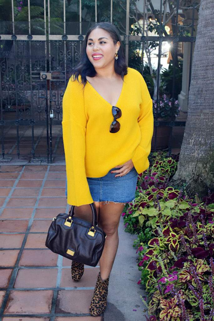 yellow bell sleeve sweater