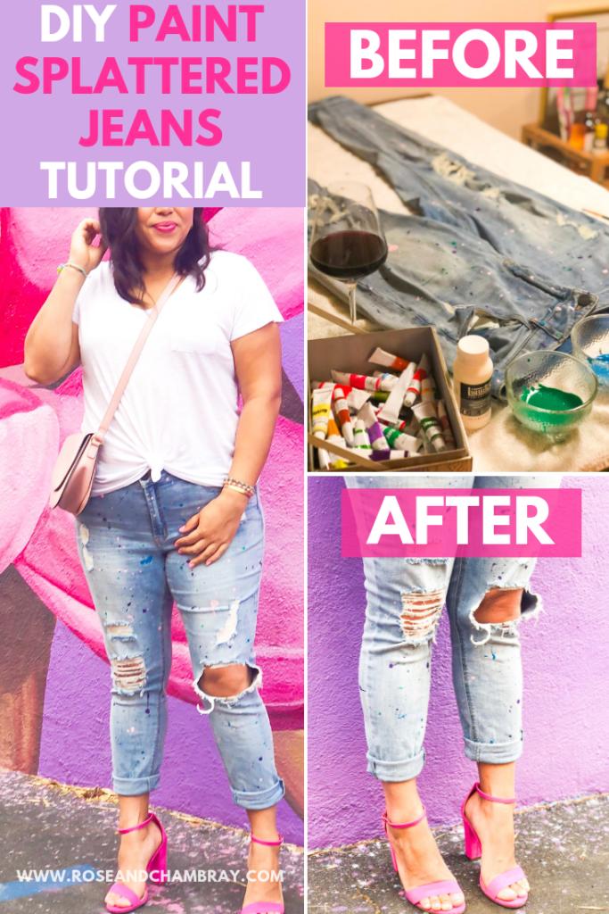 DIY Paint Splattered Jeans Tutorial
